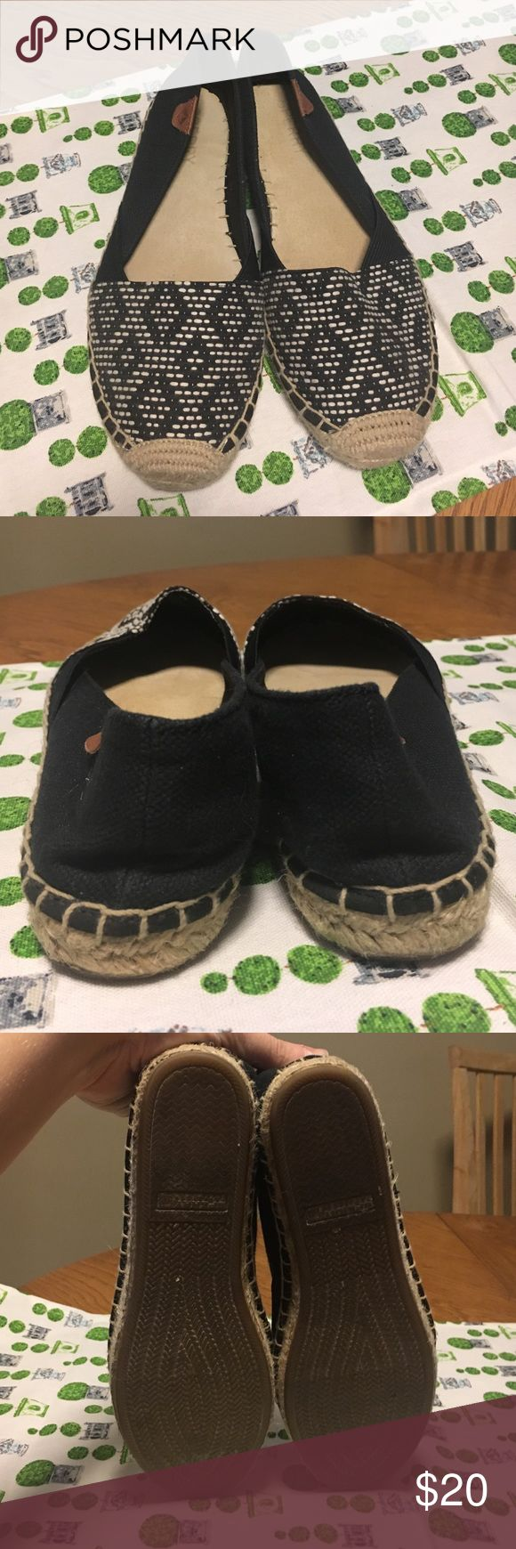 Cute Patterned Sperry Espadrilles Black and white patterned flat Sperry espadrilles in excellent condition! Sperry Shoes Espadrilles