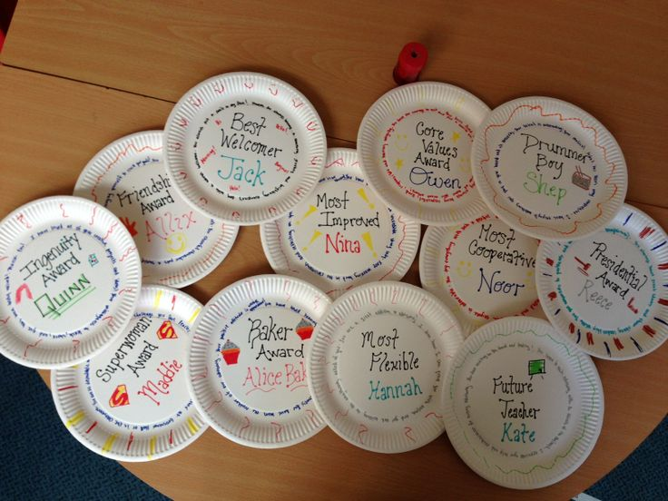 Paper Plate awards, a great end of year/activity/trip thing to do with Middle Schoolers!  My kids always enjoy receiving something so personal.