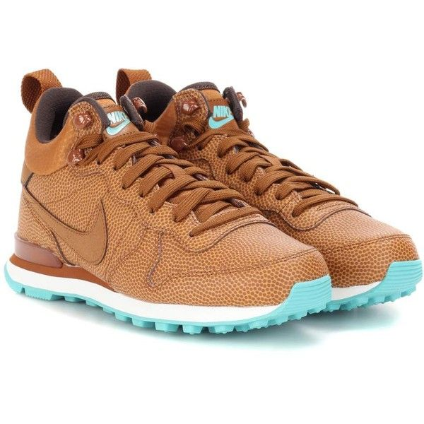Nike Internationalist Mid Leather Sneakers ($130) ❤ liked on Polyvore featuring shoes, sneakers, brown, brown leather shoes, leather trainers, nike footwear, leather footwear and brown leather trainers