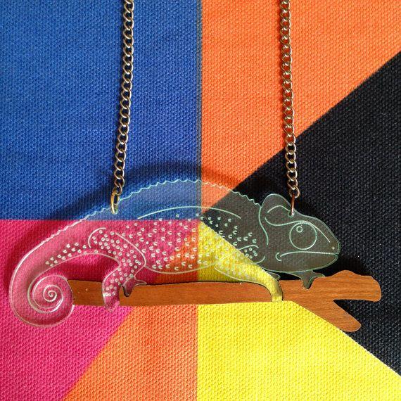 George Chameleon Necklace, Laser Cut Acrylic Necklace, Animal Jewelry, Chameleon Laser Cut Jewelry, Designosaur Collaboration