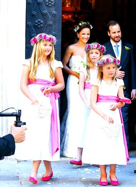 leroyalrealm via theroyalfanzine:  Princess Amalia, Princess Alexia and Princess Ariane served as attendants at the wedding of their maternal uncle Juan Zorreguieta (Queen Maxima's younger brother) to Andrea Wolf at Palais Liechtenstein in Vienna, Austria, June 7, 2014