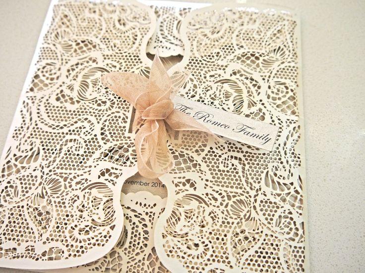 Sydney laser cut wedding invitation - Custom colours avaliable - intricate lace design