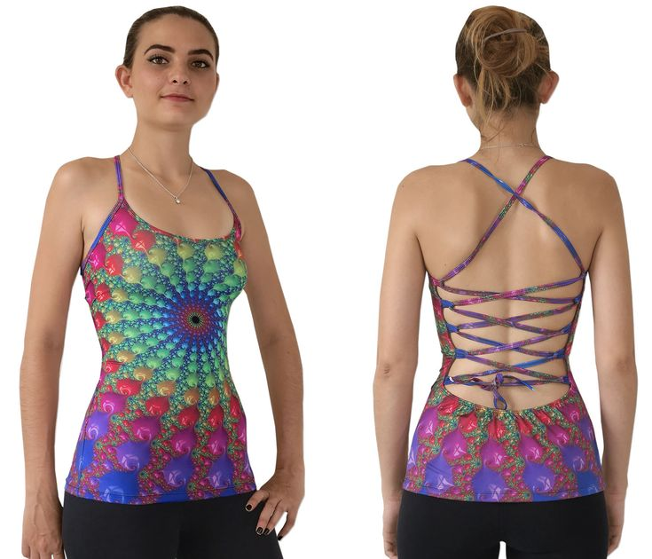 """Sublime Kali Top : Spectral Fractum This is a fully printed top that will really grab people's attention.  Open lace-up back for a super adjustable fit.  Slinky stretch polyester lycra fabric (82% polyester, 18% spandex)  Printed using sublimation printing technology.  This allows for extremely vibrant colors that will never fade away no matter how many times it gets washed, & results in an extremely soft """"feel"""" to the top for ultimate comfort.  Artwork by Space Tribe"""