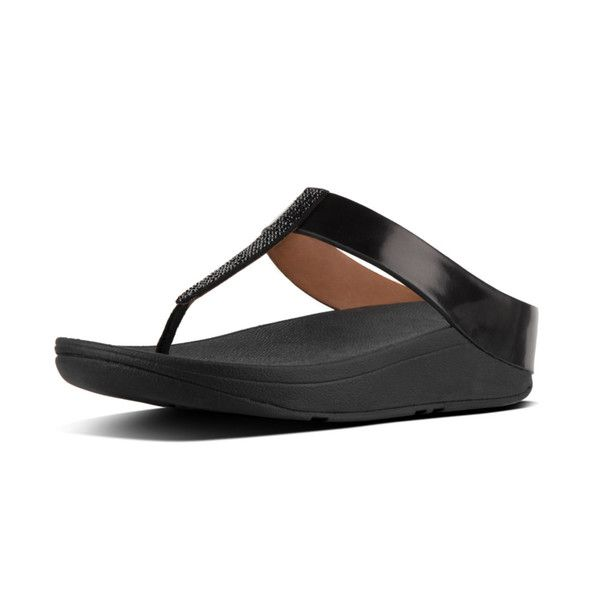 947947db73a59c FitFlop Fino Crystal Toe Post Sandals in Black colour available from  Brandshop UK with FREE postage