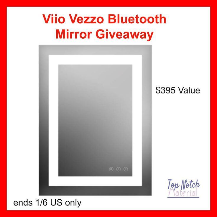 Viio Vezzo Bluetooth Mirror Giveaway Hosted by Top Notch Material Sponsored by Viio Viio has come out with a Bluetooth mirror. You are probably wondering what the heck a Bluetooth mirror is. Well, it has Bluetooth capabilities like other Bluetooth speakers...