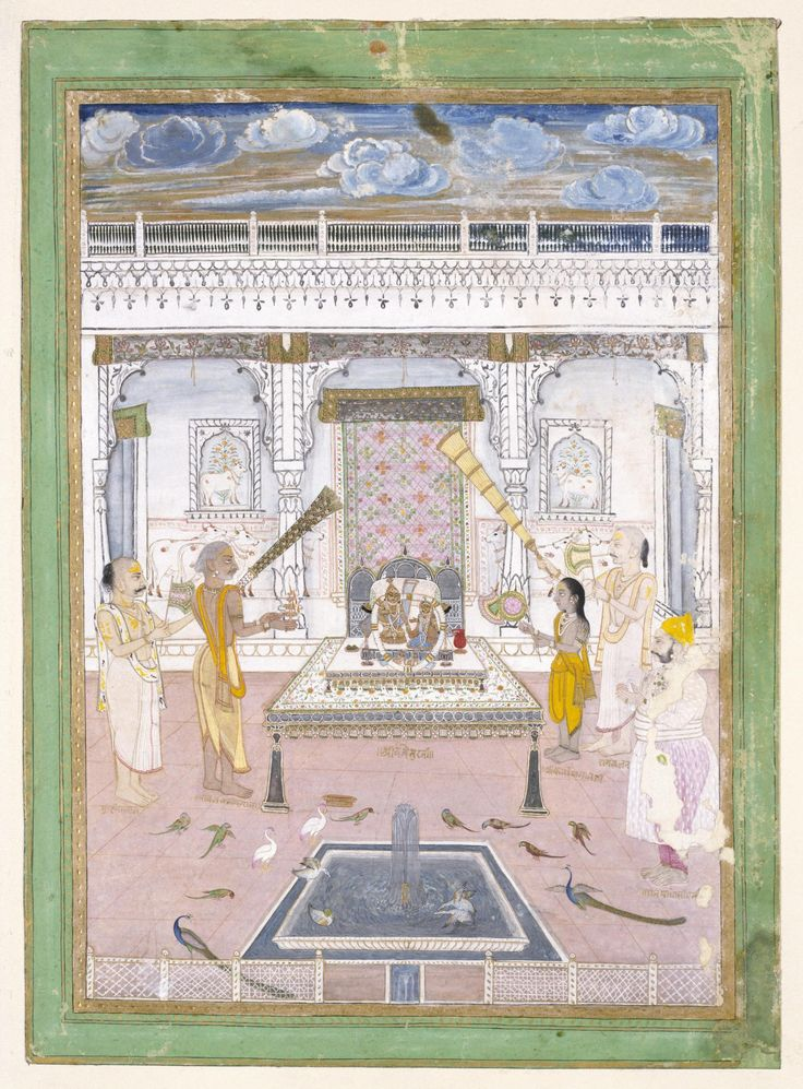 Painting, Maharaja Madho Singh worshipping at a Krishna shrine, opaque watercolour and gold on paper, Kishengarh or Nathadwara, ca. 1760, Victoria and Albert Museum