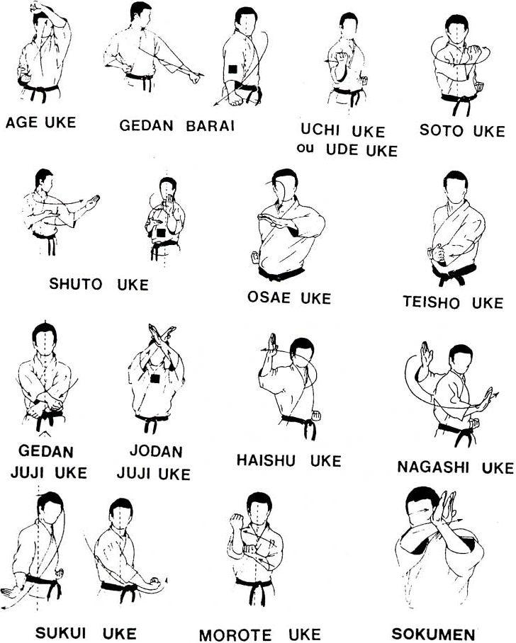 TECNICAS DE DEFENSA           AGE UKE:(Defensa con el antebrazo nivel alto)  Parada alta elevando el brazo. El puño que ejecuta la técnic...