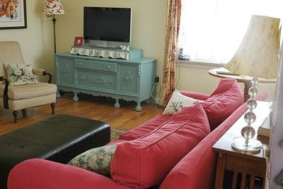 Red couch + aqua buffet; @Laurel Wypkema Wypkema Cooper