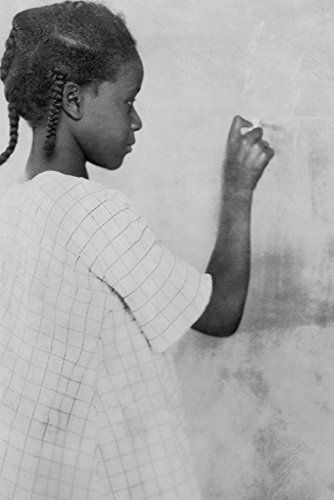 Young African American Girl at Chalkboard Photograph (9x12 Art Print Wall Decor Travel Poster)