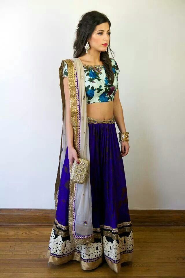 Beautiful blue floral #lehenga #robin #blue with heavy border fill make you look confident this festival
