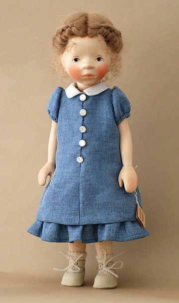 Handmade wooden doll, Girl in Chambray Dress, by artist Elisabeth Pongratz.