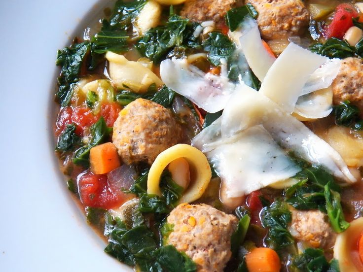 Healthy Turkey Meatball and Kale Soup--lots of hidden healthy food in this soup, but it has LOTS of ingredients so it's not a quick recipe