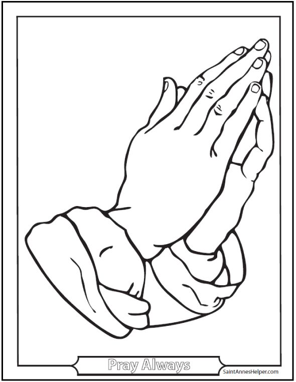 Coloring Pages Praying Hands with Rosaries