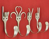 I Love You 2   Special Dinner Fork Collector set 4 Silverware Coat Hooks  American Sign Language