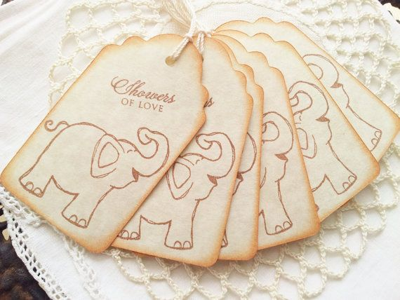 Baby Shower Tags Baby Elephant Showers of Love by LazyDayCottage