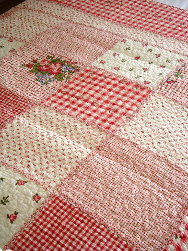 Country Style Pale Red Floral Patchwork Quilt/Bedspread  http://www.country-touches.co.uk