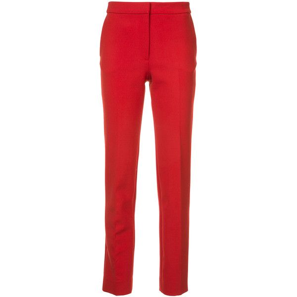 Oscar de la Renta skinny trousers (19,235 MXN) ❤ liked on Polyvore featuring pants, capris, red, stretch skinny pants, red skinny pants, red trousers, stretch trousers and stretchy skinny pants