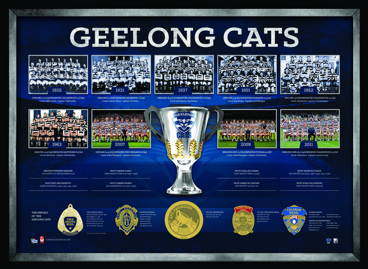 GEELONG FOOTBALL CLUB THE HISTORICAL SERIES Fetures foil-printed replica medals awarded to Geelong's greatest Complete with images from all premiership teams, and statistics and records throughout Geelong's history Limited in edition to 1000 units only Presented in a matted deluxe timber frame Officially licensed by the AFL Accompanied with a AFL Players Association certificate of authenticity Approx framed size 780mm x 580mm