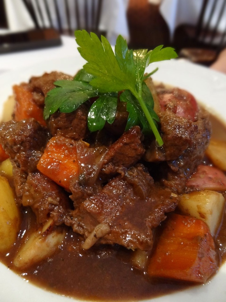 Beef and Guinness Stew with potatoes, turnips, parsnips, carrots and ...