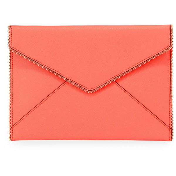 Rebecca Minkoff Leo Saffiano Zip-Trim Clutch Bag (405 BRL) ❤ liked on Polyvore featuring bags, handbags, clutches, extra, bright coral, envelope clutch bag, zipper purse, zipper handbag, red handbags and red clutches