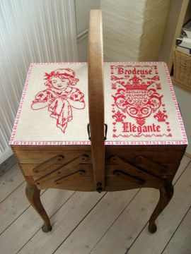 Embroideries on my antique French sewingbox