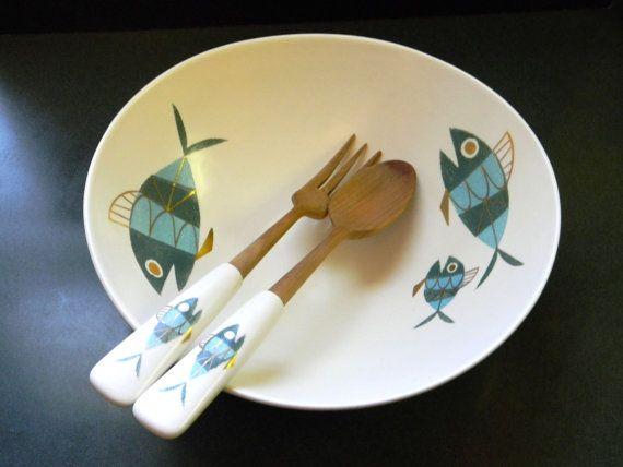 Metlox Tropicana Fish motif salad bowl and serving tongs