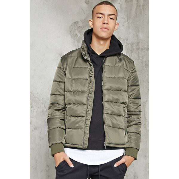 Forever21 Zipper Puffer Jacket (£31) ❤ liked on Polyvore featuring men's fashion, men's clothing, men's outerwear, men's jackets, olive, mens zip up jackets, mens olive jacket, mens olive green jacket, mens sherpa lined jacket and mens green military jacket