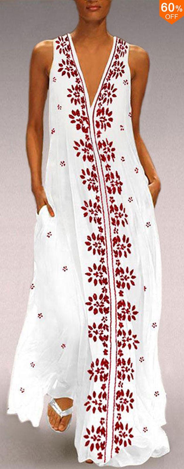 Women V Neck Sleeveless Floral Maxi Dress