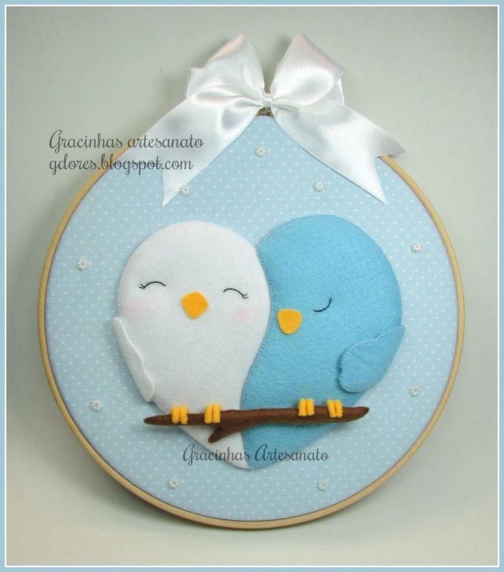 Birds in love - Embroidery hoop handmade by Gracinhas Artesanato