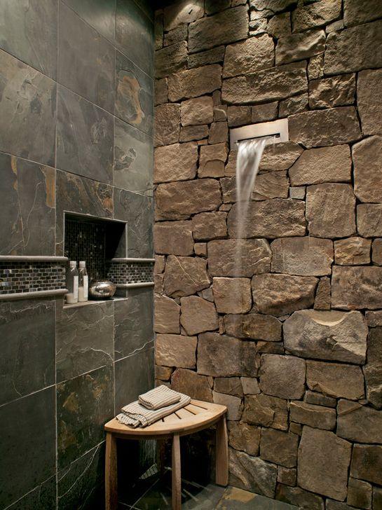 Salle de bain ardoise  naturelle et chic Spa, House architecture - salle de bain ardoise