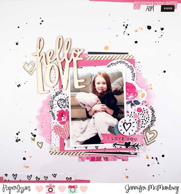 Hello Love scrapbook layout by Jennifer McMurdrey for Paper Issues & @crate_paper