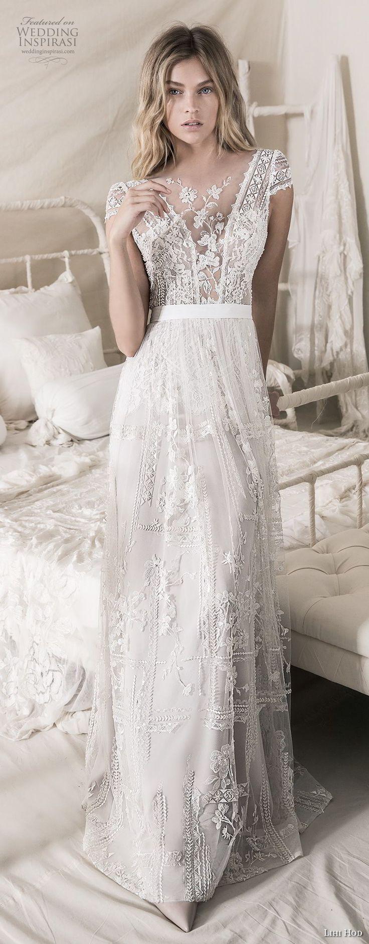 lihi hod 2018 bridal cap sleeves illusion jewel deep v neck heavily embellised bodice romantic bohemian soft a  line wedding dress open strap back sweep train (5) mv fv -- Lihi Hod 2018 Wedding Dresses