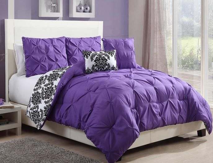 purple comforter for teens | TEEN-GIRLS-Black-White-Purple-REVERSIBLE-PINTUCK-DAMASK-Comforter-SET ...
