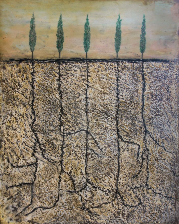 'Poplars Pathway' encaustic art by Mirella Vassallo