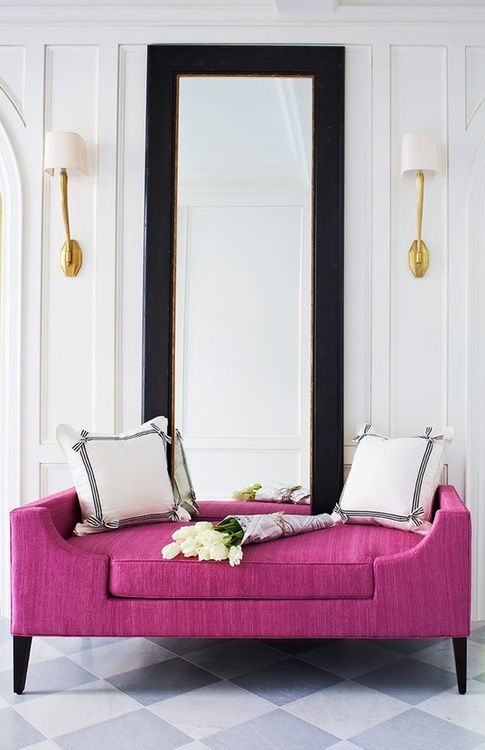 Maybe the daybed under the window, in navy blue velvet?  Crush Cul de Sac