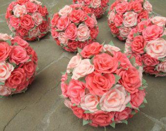 Wedding Bouquet/ Bridal Bouquet/ Bridesmaid Bouquet/ Paper Flower Bouquet/ Rustic Wedding/ Alternative Bouquet/ Coral Bridal Bouquet