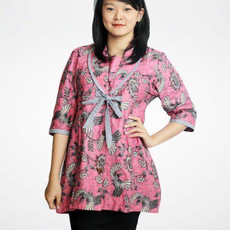 Model Baju Blus Batik Kantor Lengan Panjang