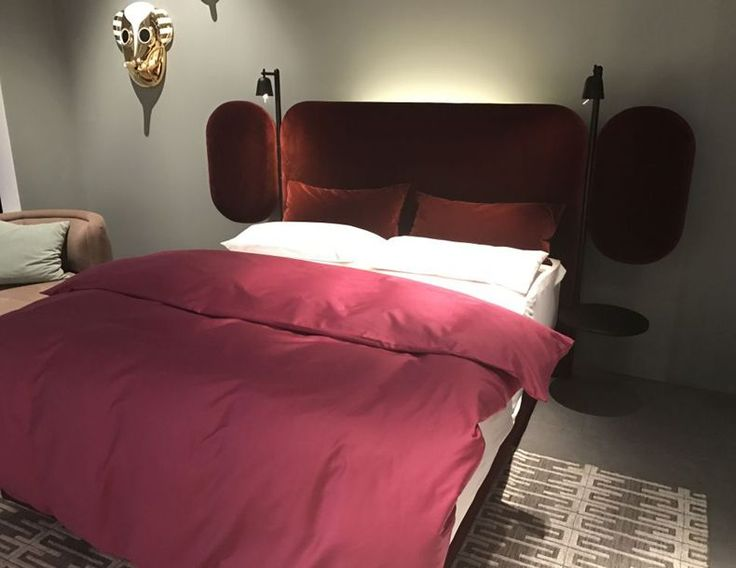 Red Bed Design With Large Headboard And Reading Lights | The Best Wood Furniture