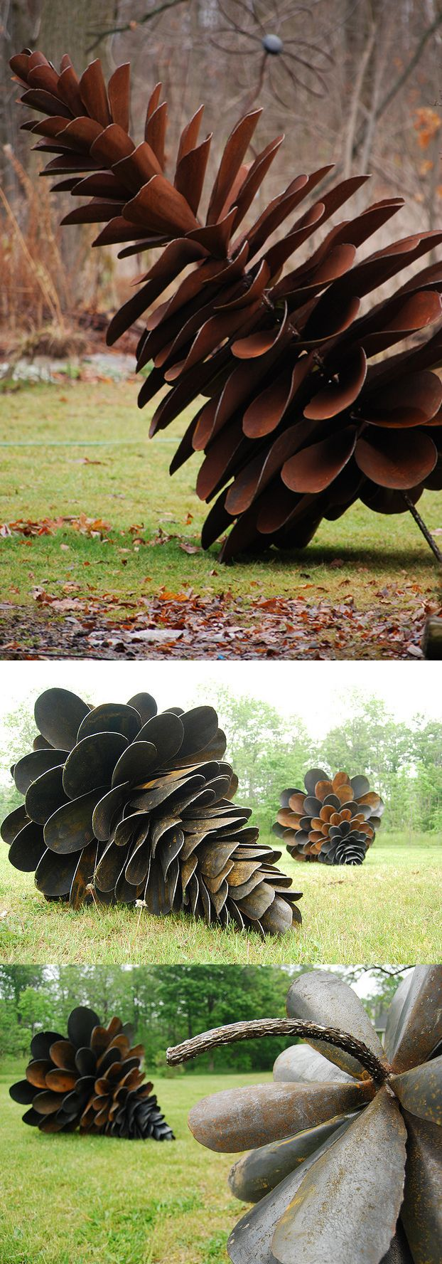 Floyd Elzinga's Pine Cones made of upcycled shovel heads. .. Completely COOL!