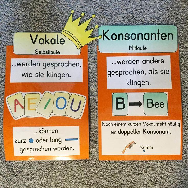 """166 Likes, 22 Comments - Froileins Kunterbunt  (@_froileinskunterbunt) on Instagram: """"Die Merkplakate für Vokale und Konsonanten sind fertig! #Zweiteklasse #deutschunterricht #merkhilfe…"""""""