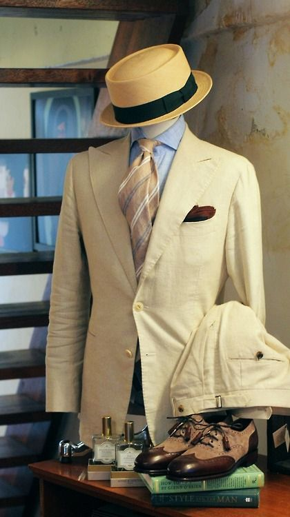 tailorablenco: Beige Linen suit By Tailorable BlueLabel. I like the tie.