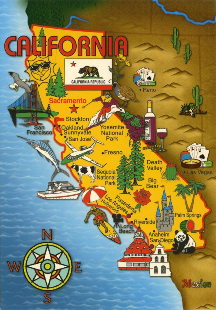 California 89 best USA Map Postcard Collection