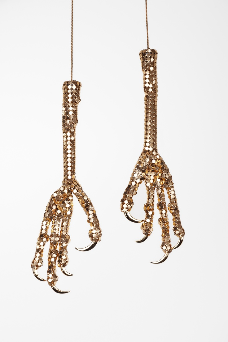 """Sian Edwards, """"Chicken Feet"""", reconstructed glomesh bag and gold plated sterling silver."""