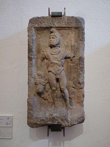 Haguenau (Bas-Rhin) - Stèle représentant Mars Mider accompagné d'un taureau - IIIème siècle  - trouvée dans la forêt d'Haguenau -