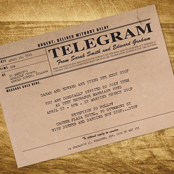 Printable Wedding Invitation Digital File Antique Rustic Wedding Invitation 1920s 1930s
