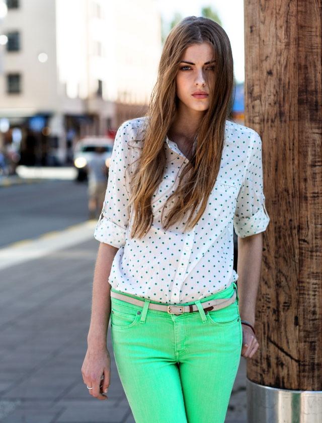 Spodnie w kolorze Spring Green