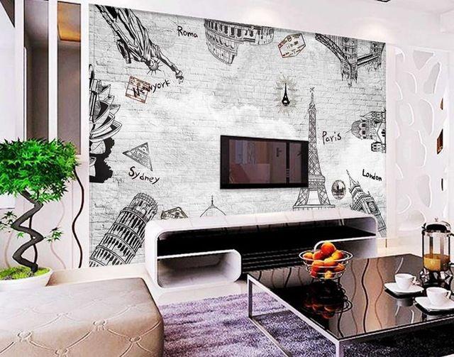 3d fond d'écran personnalisé murale non-tissé 3d papier peint de la chambre Européenne TV réglage mur de briques mur blanc nuages 3d mur peintures murales de papier peint/