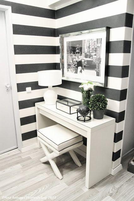 Papier peint larges rayures horizontales noir et blanc - Papier peint rayure noir et blanc ...