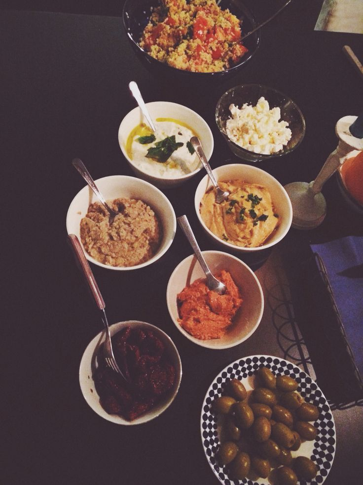 Lebanese Food . Meze hummus baba ganoush muhamara labne tabbouleh kafta