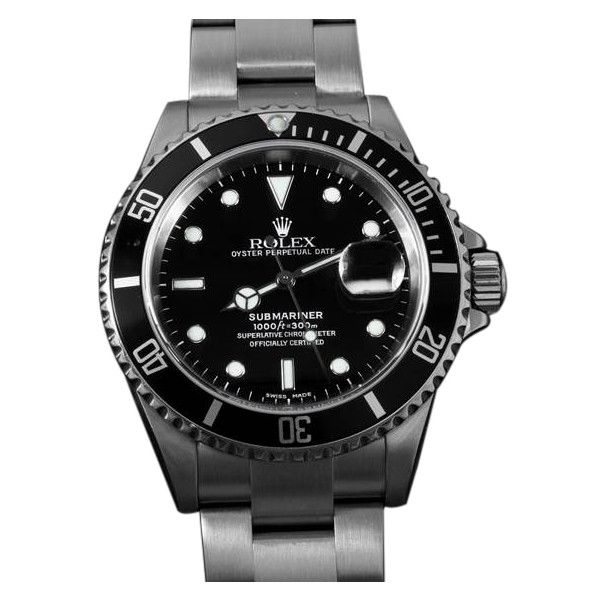 Pre-Owned Rolex Submariner Black Sub, date, Stainless Steel - 16610T ($6,155) ❤ liked on Polyvore featuring jewelry, watches, silver, black dial watches, black watches, water proof watches, rolex watches and preowned watches
